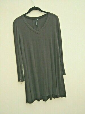 Yong Kim Brown Swing Style  V-neck Tunic -  Zip Sleeve Detail - Size 12 • 25£