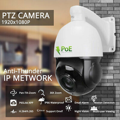 HD 1080p PTZ Outdoor Speed Dome IP Pan 30X Zoom IR Security Camera Build In POE • 103.99£