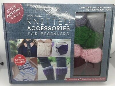 Knitted Accessories For Beginners - Learn To Knit Craft Kit - Yarn Needles Guide • 9.99£