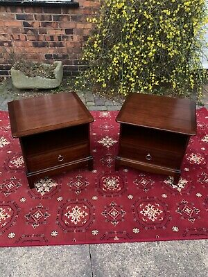 Lovely Pair Of Stag Minstrel Mahogany Lamp Tables/Bedsides Cabinets • 140£