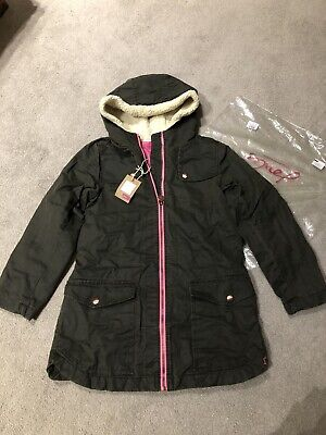 NEW Joules Girls Green (pink Cosy Lining) Wax Parka Coat Jacket Age 12-12y • 35£