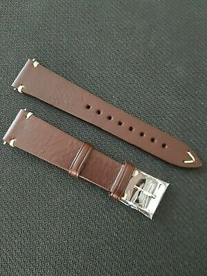 20mm Vintage Style Chocolate Brown Handmade Italian Leather Watch Strap Band • 21.95£