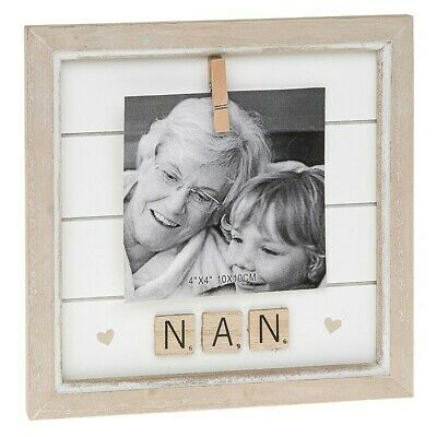 Sentiment Frame Nan Scrabble Letters Family Photo Picture Shabby Chic Gift • 9.99£