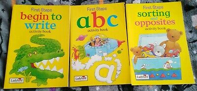 3x Ladybird First Steps Activity Book Bundle, ABC/Sorting Opposites/ Write, 1997 • 4.99£