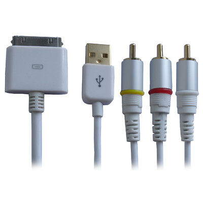 P45 30pin Connector On Av 3RCA + USB Video Cable TV IPHONE 4 3GS Ipod IPAD 2 • 8.95£