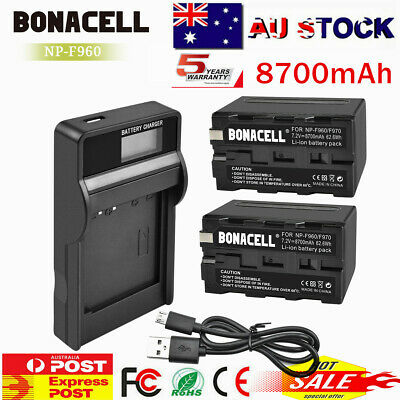 AU41.99 • Buy 8700mAh NP-F960 NPF960 Battery+LCD Charger For Sony F970 NP-F950 NP-F770 NP-F750
