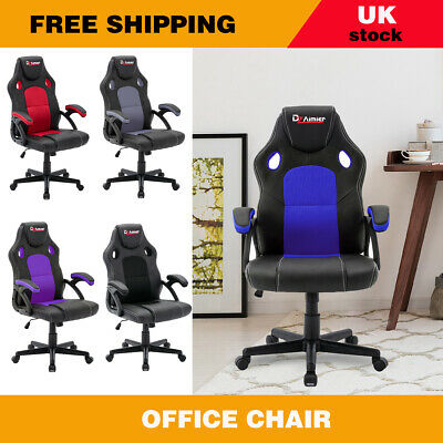 Office Chair Swivel Mesh Seat Executive Adjustable Racing Lift Gaming PU Leather • 67.99£