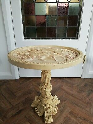 Antique 1920s Oriental Japanese Chinese Occasional Side Table Faux Ivory Stone  • 37£