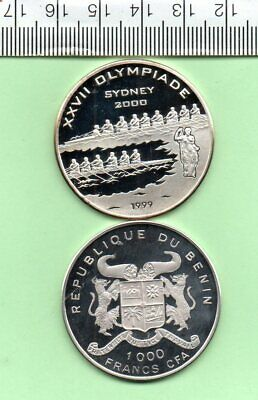 1999 Republic Of Benin Sydney Olympic Silver Proof Capsuled Coin • 25£