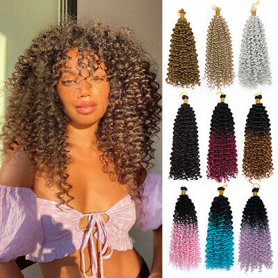 £11.59 • Buy UK 100% Thick Water Wave Crochet Braid Hair Extensions Afro Kinky Curly As Human
