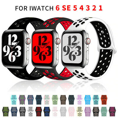 $ CDN6.80 • Buy For Apple Watch Series 6 SE 5 3 4 2 38/40/42/44mm Soft SILICONE Sport Strap Band