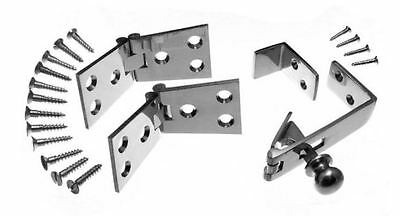 Counter Flap Catch & Stay Polished Chrome + 4  Hinges 102mm X 38mm Set / Pack • 15.95£