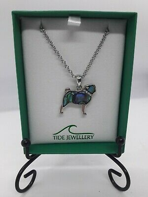 £11.99 • Buy Pug Shaped Inlaid Paua Abalone Shell Necklace Silver Tone Dog Lovers Gift