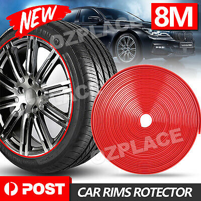 AU9.85 • Buy 8M Red Car Wheel Rims Rubber Protector Vehicle Tire Guard Moulding Decor Strip