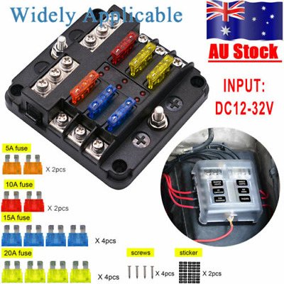 AU21.59 • Buy  Blade Fuse Box 6 Way Distribution Bar Bus Boat Car Kit Marine Holder 12V/32V AU