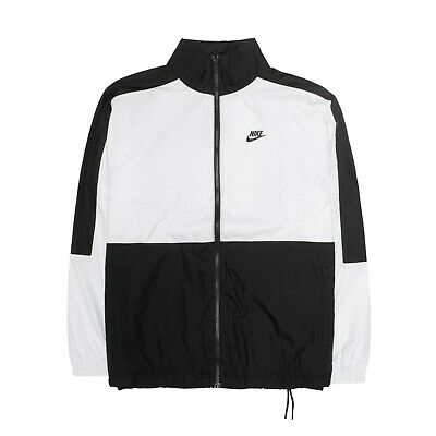 Nike NSW Sportswear Mens Social Currency Woven Track Top Jacket White Black Logo • 50.92£