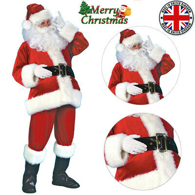 Mens Santa Claus Suit Deluxe Father Christmas Xmas Fancy Dress Costume Outfit UK • 23.99£