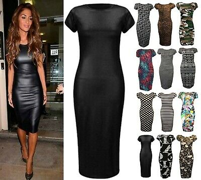 Ladies Women's Printed Short Cap Sleeves Stretch Fit Body-con Casual Midi Dress • 8.50£