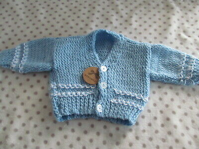 NEW  Hand Knitted Baby Boy  Cardigan   0 To 3 Months • 4.99£