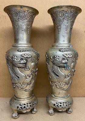 Pair Of Chinese Silvered Bronze Vases - Oriental Dragons - Height 50cm • 299£