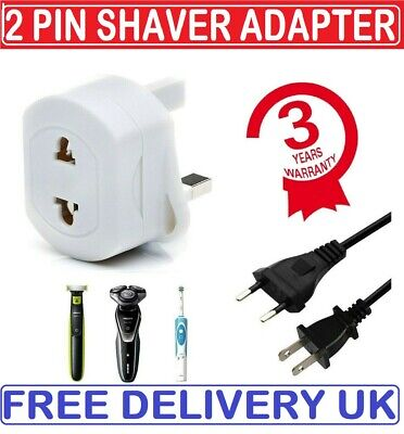 2-Pin To 3-Pin UK Shaver Adapter Plug Socket Converter EU European Euro Europe • 3.79£