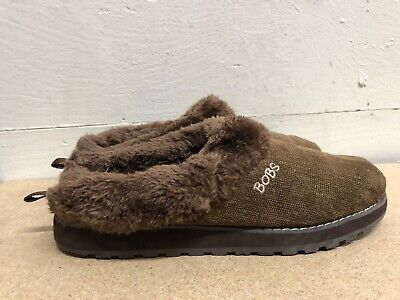Bobs From Skechers Memory Foam Women Brown Textile/faux Fur Slippers Size US 11 • 14.46£