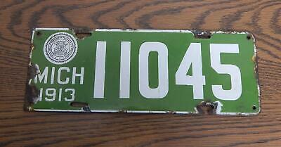 $ CDN287.46 • Buy Antique 1913 Michigan State-Issued Passenger Porcelain License Plate