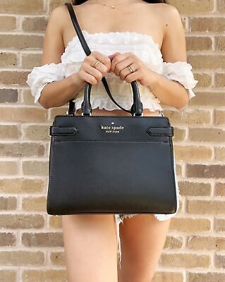 $ CDN163.32 • Buy Kate Spade Staci Medium Saffiano Leather Top Zip Satchel Purse Crossbody Black