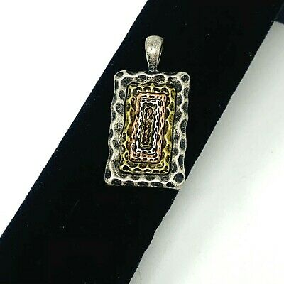 $ CDN18.82 • Buy Lia Sophia NEXUS Pendant Slide Rectangle Hammered Multi Gold Silver Tone