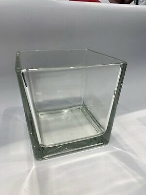 £8 • Buy Glass Clear Cube Vase Square Home Decor Storage Kitchen Pot Container