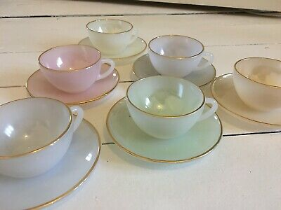Vintage French Arcopal Harlequin Cups And Saucers Espresso • 75£