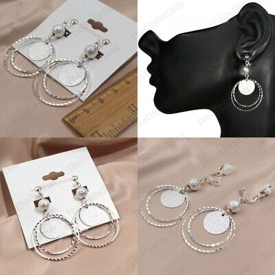 CLIP ON Drop Dangle DIAMOND CUT HOOPS Textured Silver Fashion SPARKLY EARRINGS • 2.88£