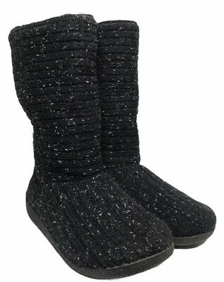 £28.32 • Buy ROCKET DOG Womens Size 9 Black Gray Chunky Knit Sweater Tall Boots Sherpa Lined