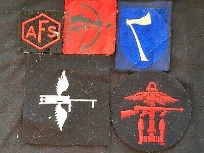 5 CLOTH MILITARY TUNIC PATCHES Inc. WW2 COMMANDO & BRITISH ANTI-AIRCRAFT, WINGS • 4.99£