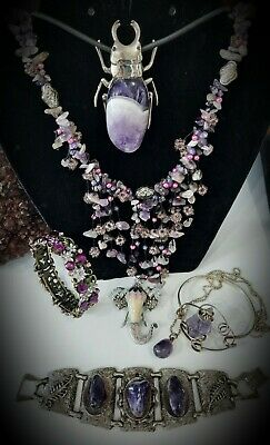 $ CDN15 • Buy Vintage~Real Amethyst~Jewlery Lot! Beads~Bracelets~Mixed Types Uniquely Crafted!