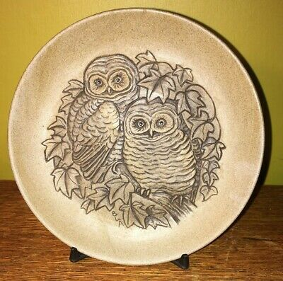Poole Pottery Stoneware Small Plate Two Owls      Ref184 • 6£