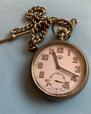 Rotary Pocket Watch & Silver Fob Chain. Swiss Made. WWII • 100£
