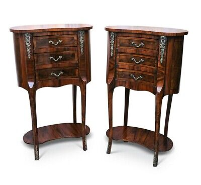 French Neo Classical Walnut Marquetry Kidney Shape Side Table • 365£