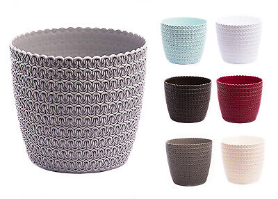 Plant Pots Jersey Knitted Large Small Medium Round Decorative Plastic Holder • 5.29£