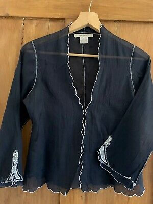 Vintage Y2K Free People Blouse/ Embroidered Top Black Indian Cotton Size 8  • 3.49£
