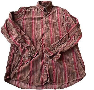 Guise Mens Brown Pinstripe Corduroy Button Up Shirt Size M Excellent Condition • 3£