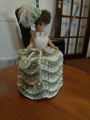 Vintage Toilet Roll Cover Doll Knitted Dress VGC • 3£