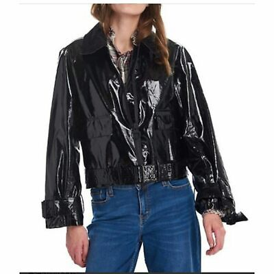 AU259.67 • Buy Barbour By Alexachung Emma Casual Boxy Jacket Black Patent Faux Leather $500