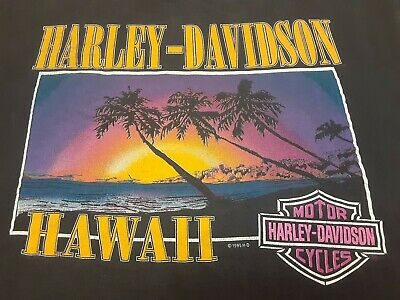 $ CDN13.05 • Buy VTG 90s Harley Davidson Kailua-Kona Hawaii Sunset Beach Double Sided T Shirt XL
