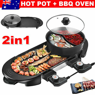 AU67.95 • Buy Electric 2 In 1 Hot Pot Hotpot BBQ Grill Oven Smokeless Barbecue Pan Machine AU