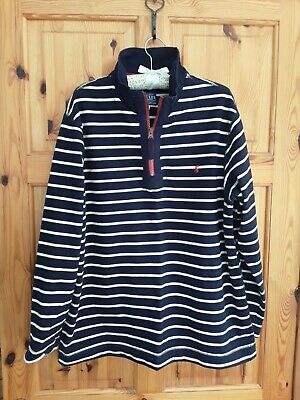 Joules L Large Striped Sweatshirt Top Navy & White, Fits 16 • 16.50£