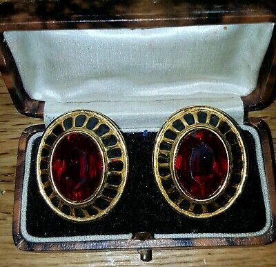 VINTAGE 80s Sparkly Red Clip-On Earrings Oval Gold Tone Power Dressing Large  • 3£