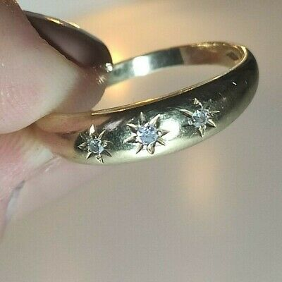 Vintage Preloved 9ct Yellow Gold And Diamonds Gypsy Ring Size S Not Scrap • 130£