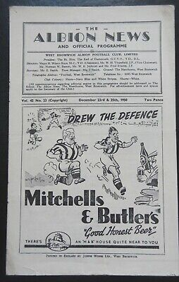 WEST BROMWICH ALBION V SHEFFIELD WEDNESDAY - 1955/56 - Division 1 Xmas Day • 5.50£