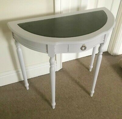 Demi Lune Half Moon Hall Table Console Table Painted Light Grey With Leather Top • 19.50£